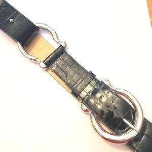Cache Black Patent Crock Embossed Leather Belt